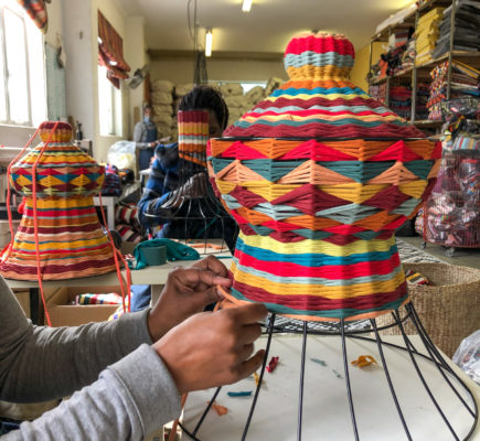 Our lampshade weaving studio